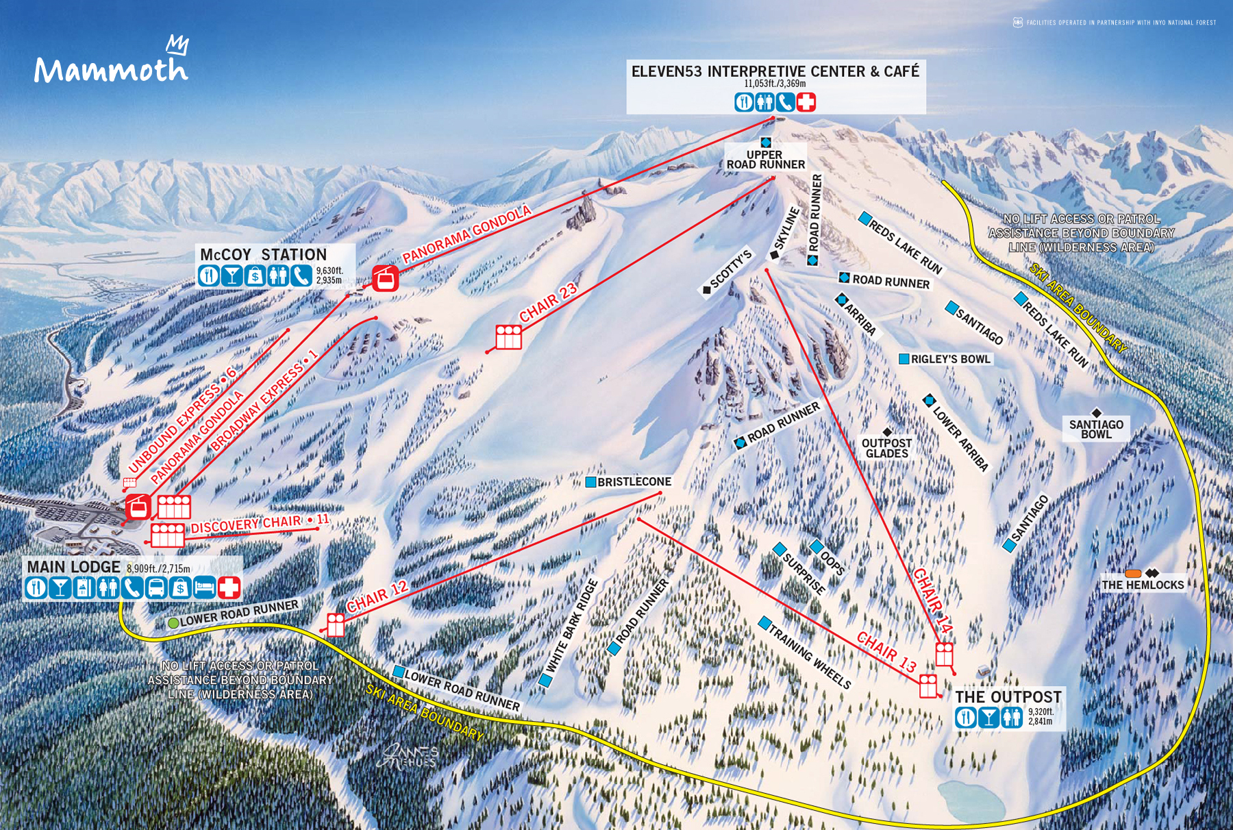 Mammoth Mountain Winter Trail Map Back