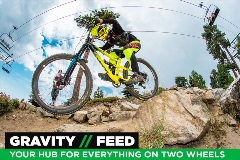 gravity feed mountain biker