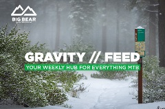 Snow covered mountain biking trail. Gravity Feed, your weekly hub for everything mtb.