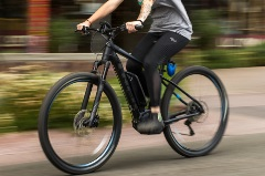 person riding an e-bike