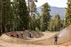 crew working on building a mtb park