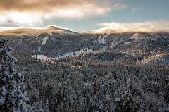 big bear mountain covered in snow