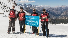 Mammoth Ski Patrol group photo on the slopes in September.