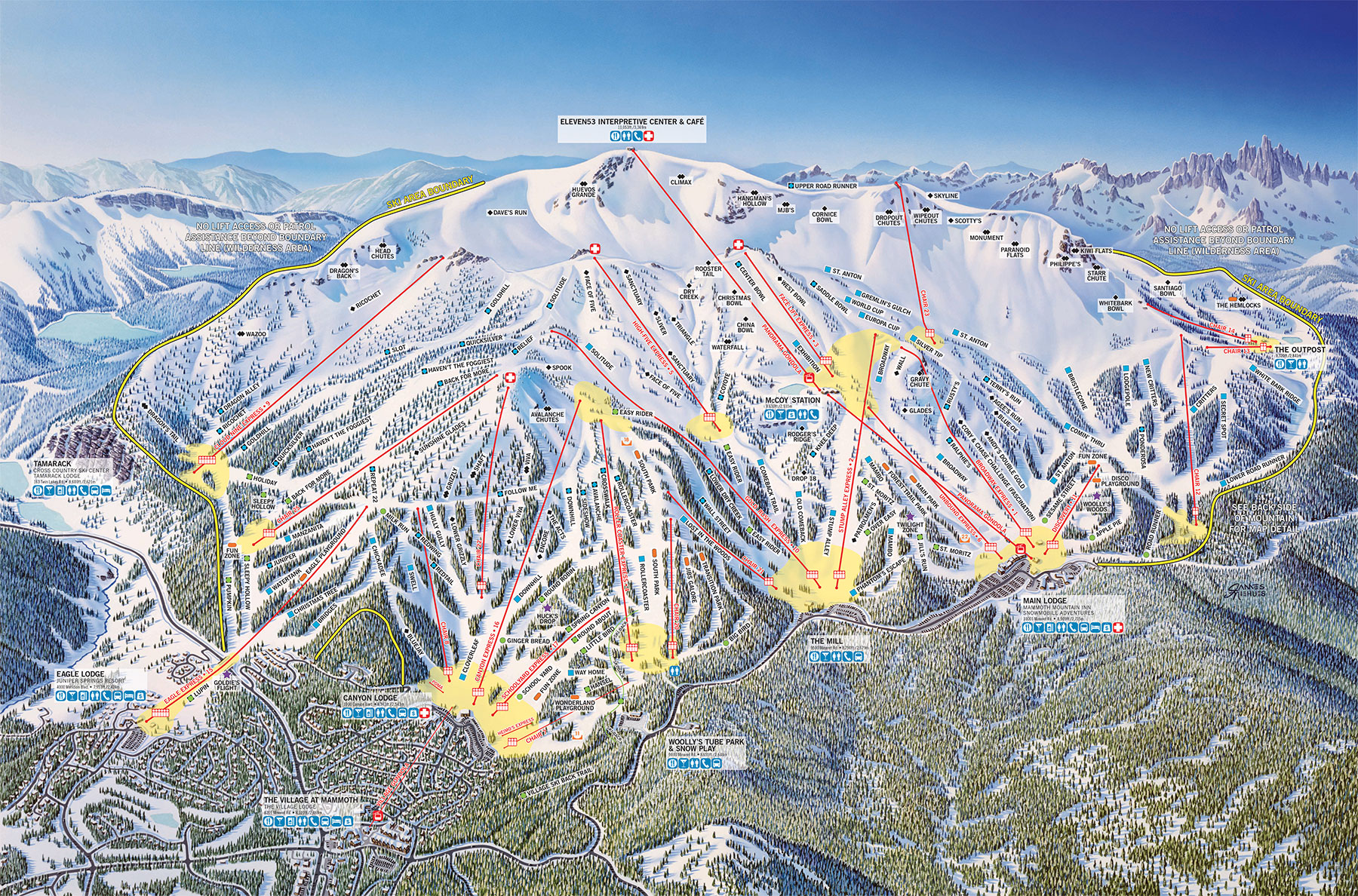Mammoth Mountain Ski Area Trail Map Official Site - Map of usa with mountains
