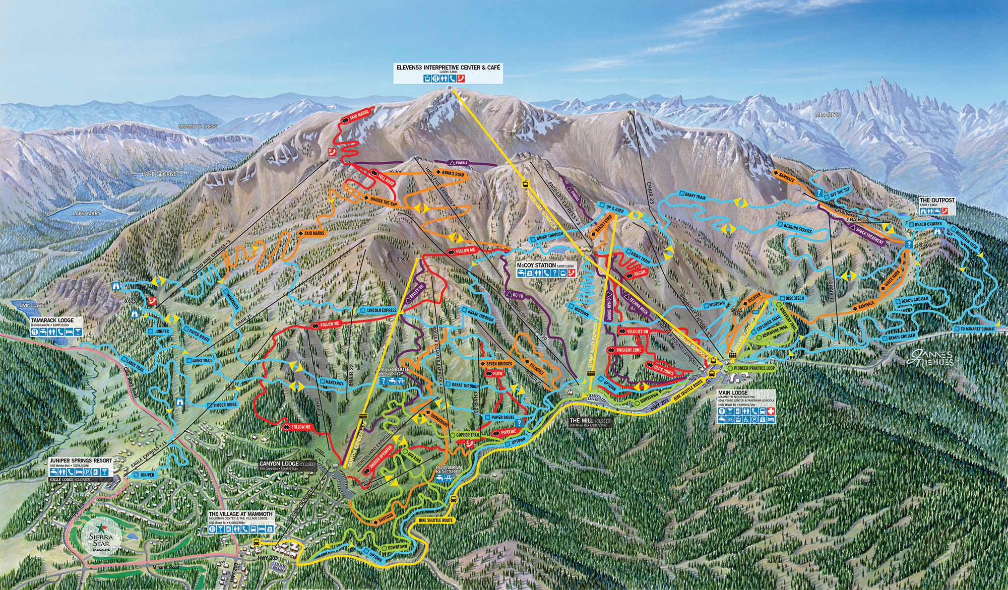 Mammoth Mountain Bike Terrain Park Trail Map | Official