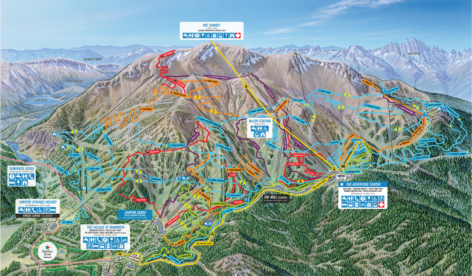 2020 Mammoth Mountain Bike Park Trail Map
