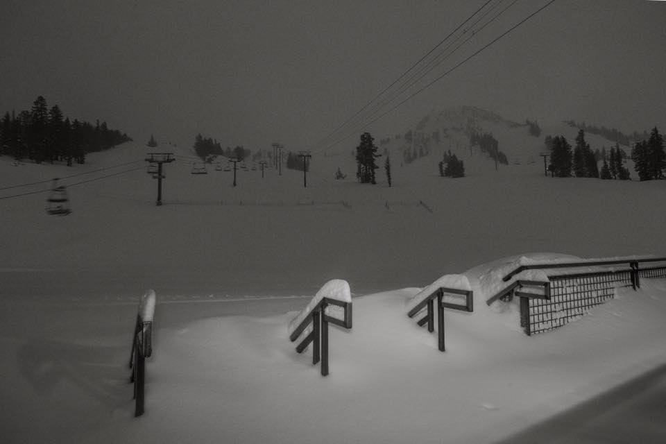 Snow covers the stairs at Main Lodge