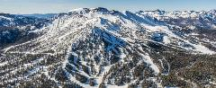 Aerial shot of Mammoth Mountain in the winter.