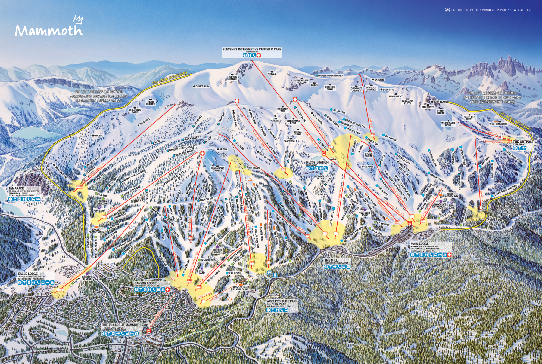 mammoth mountain winter trail map front . mammoth mountain ski area trail map  official site