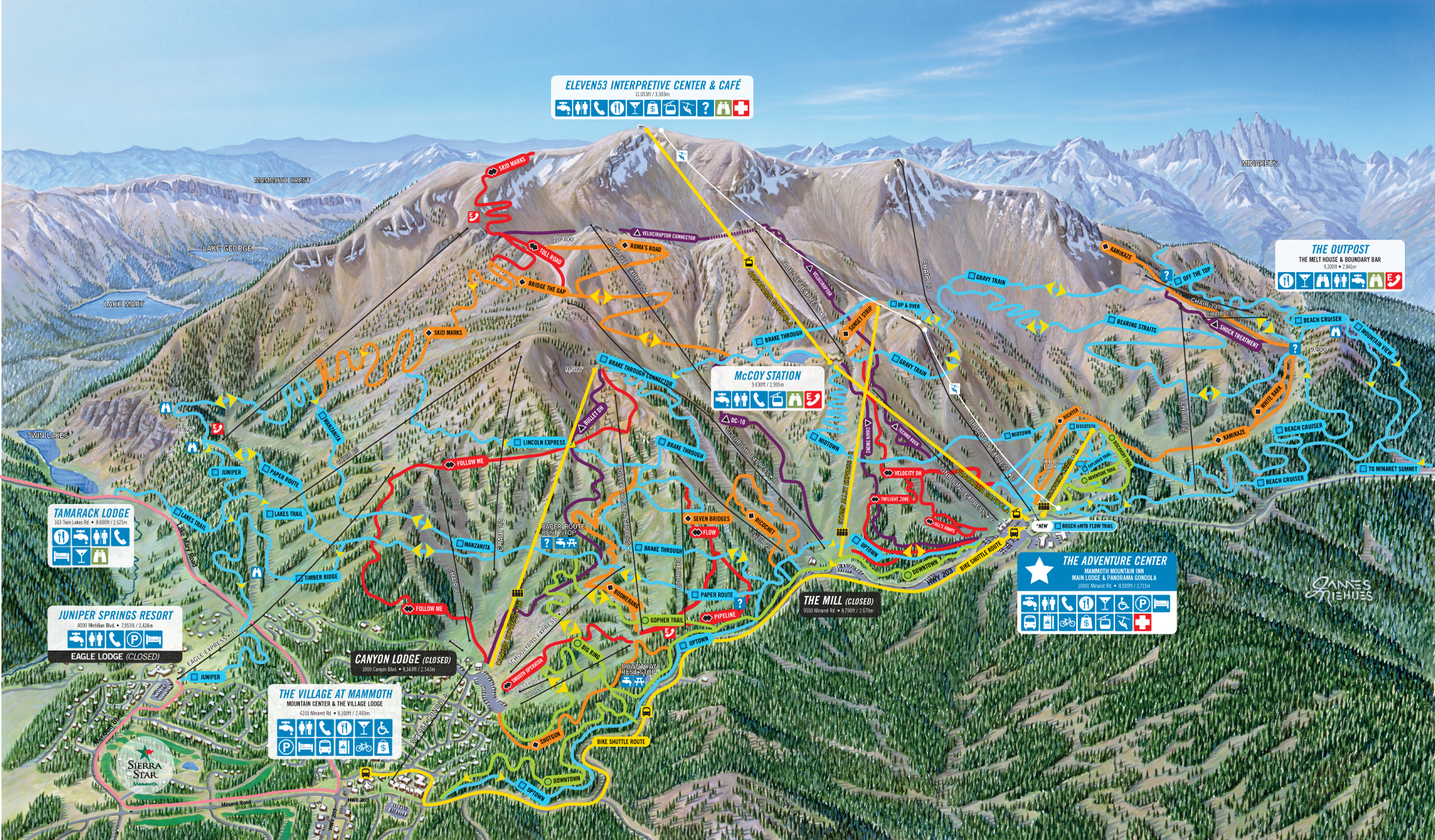 Mammoth Mountain Bike Terrain Park Trail Map | Official on