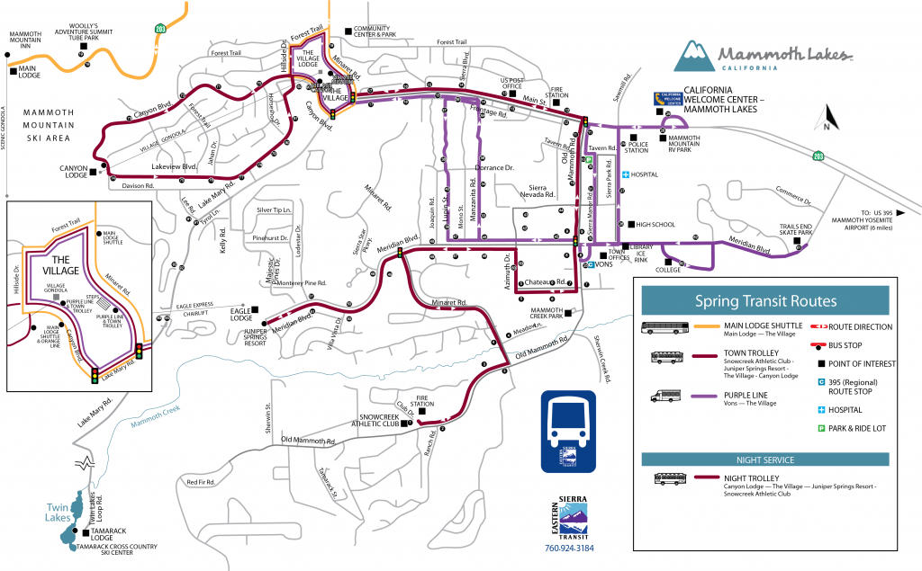 Eastern Sierra Transportation Authority's Spring Transit Route Map