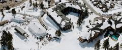 Aerial shot of Eagle Lodge in winter.