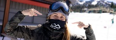 snowboarder wearing a face mask