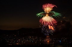 above the boom fireworks show over big bear lake, mixed color with green and yellow firework
