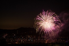 above the boom fireworks show over big bear lake, mixed color firework
