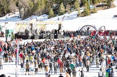 crowd at a concert on the snow