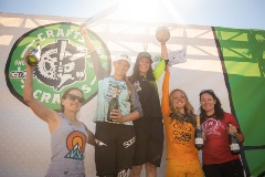 ladies on the podium with awards at crafts n cranks 2019