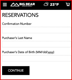 type in your reservation information