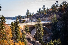 road to big bear with fall colors