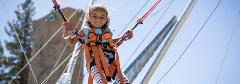 young girl jumping on a euro bungee trampoline