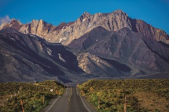 Owens River road with mountains