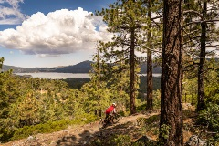 mountain bike heading down 10-ply downhill double black diamond trail with big bear lake view