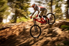 10-play downhill trail, mountain biker riding down rocks