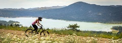 woman MTBer riding through wild flowers with big bear lake in the background