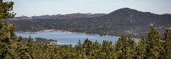 scenic view of big bear lake with trees and mountains surrounding