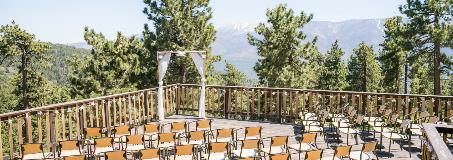 photo of a wedding alter overlooking the mountains