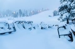 tables completed covered in snow