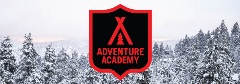 bear mountain adventure academy logo with snowy trees in the background