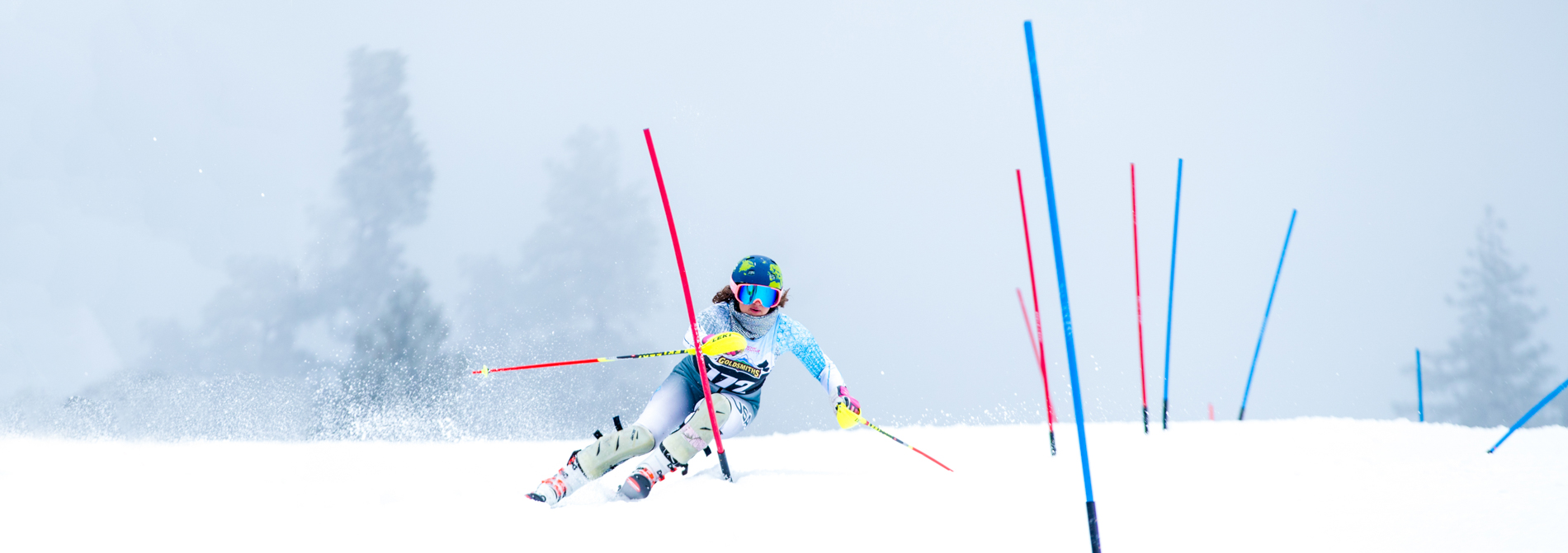 racer skiing in a race