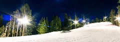Night sessions at snow summit snow lane is lite up