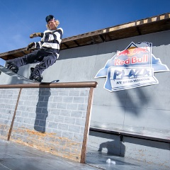 guy doing a trick at the redbull park at bear mountain